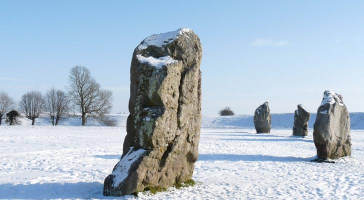 Avebury Rings in the snow - a photograph taken by John
